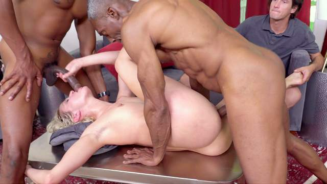 Skinny babe gets blacked in a crazy home cuckold