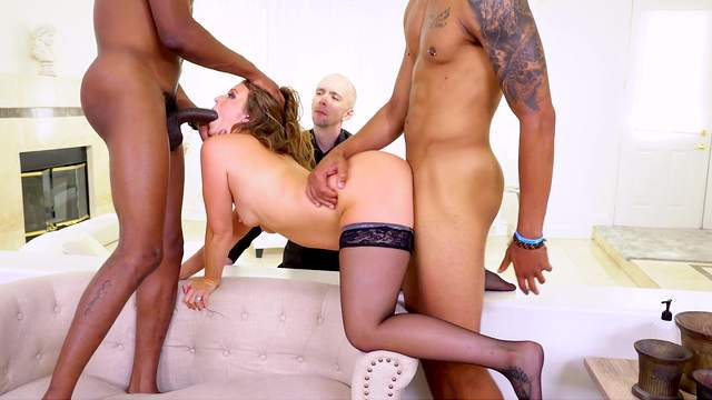 Black men fuck a hot wife in front of her husband