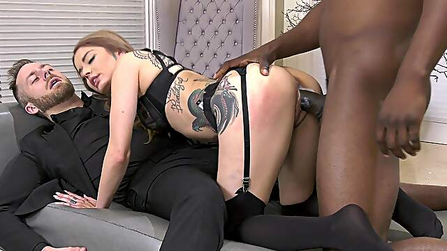 Cramped wife roughly blacked in dirty trio